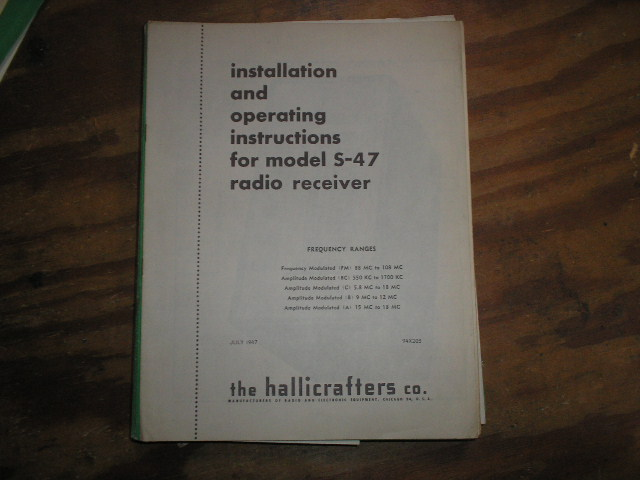 S-47  Receiver Owners Manual