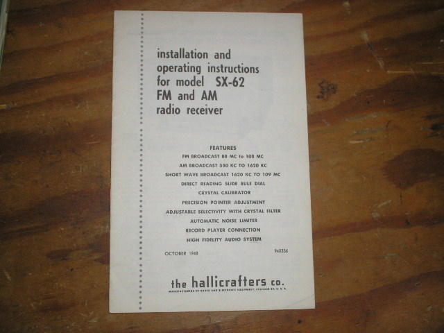 SX-62 Receiver Installation and Operating Manual