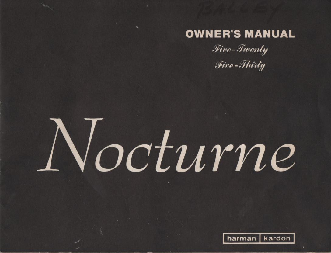 520 530 Nocturne Receiver Operating Instruction Manual