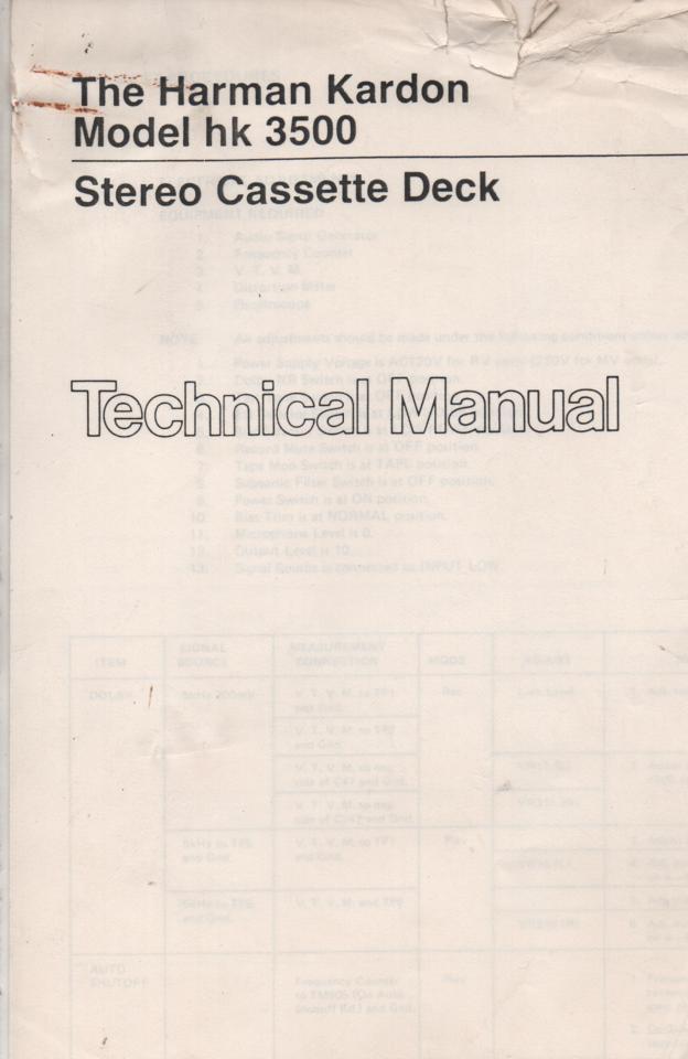 HK3500 Cassette Deck Service Instruction Manual
