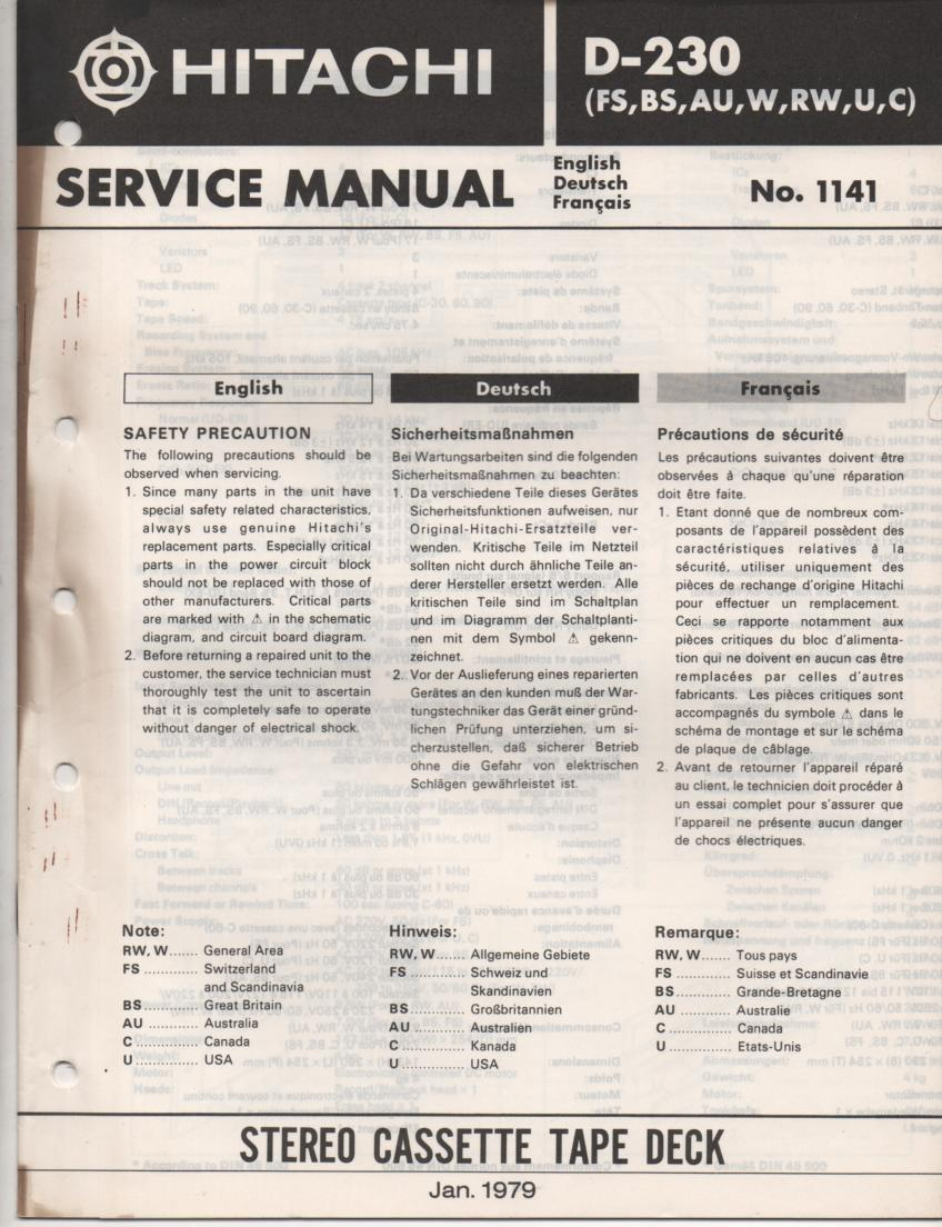 D-230 Cassette Deck Service Manual .  For U C W RW FS BS and AU versions.  Manual is in English Deutsch and Francais