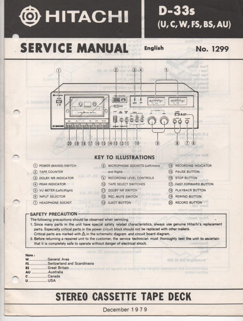 D-33S Cassette Deck Service Manual .  For U C W FS BS and AU versions.  Manual is in English