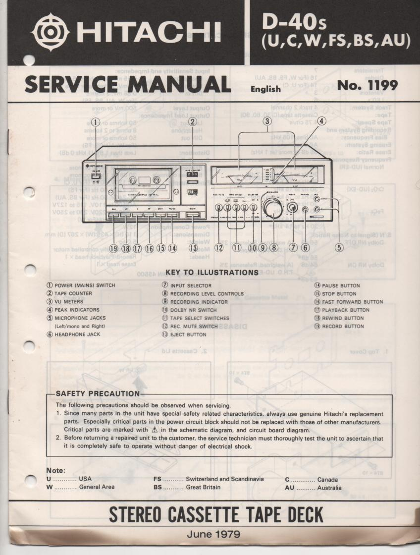 D-40S Cassette Deck Service Manual .  For U C W FS BS and AU versions.  Manual is in English