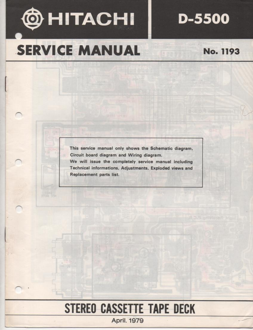 D-5500 Cassette Deck Service Manual .  For U C W FS BS and AU versions.  Manual is in English..Need the UD-1 Mechanism manual for complete service manual.