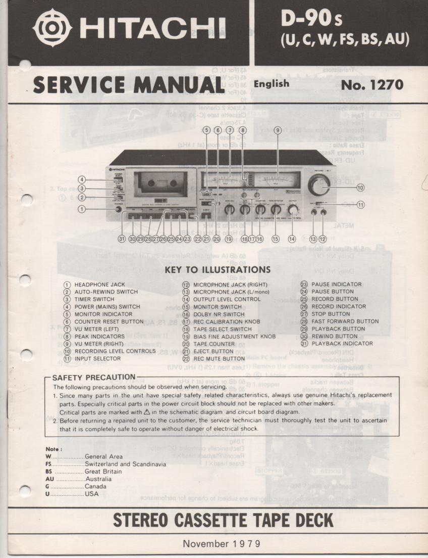 D-90S Cassette Deck Service Manual .  For U C W FS BS and AU versions.  Manual is in English