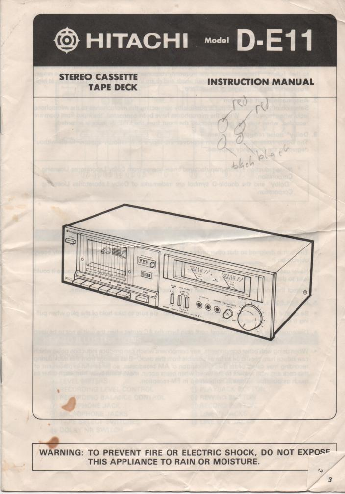 D-E11 Cassette Deck Owners Instruction Manual with Schematic