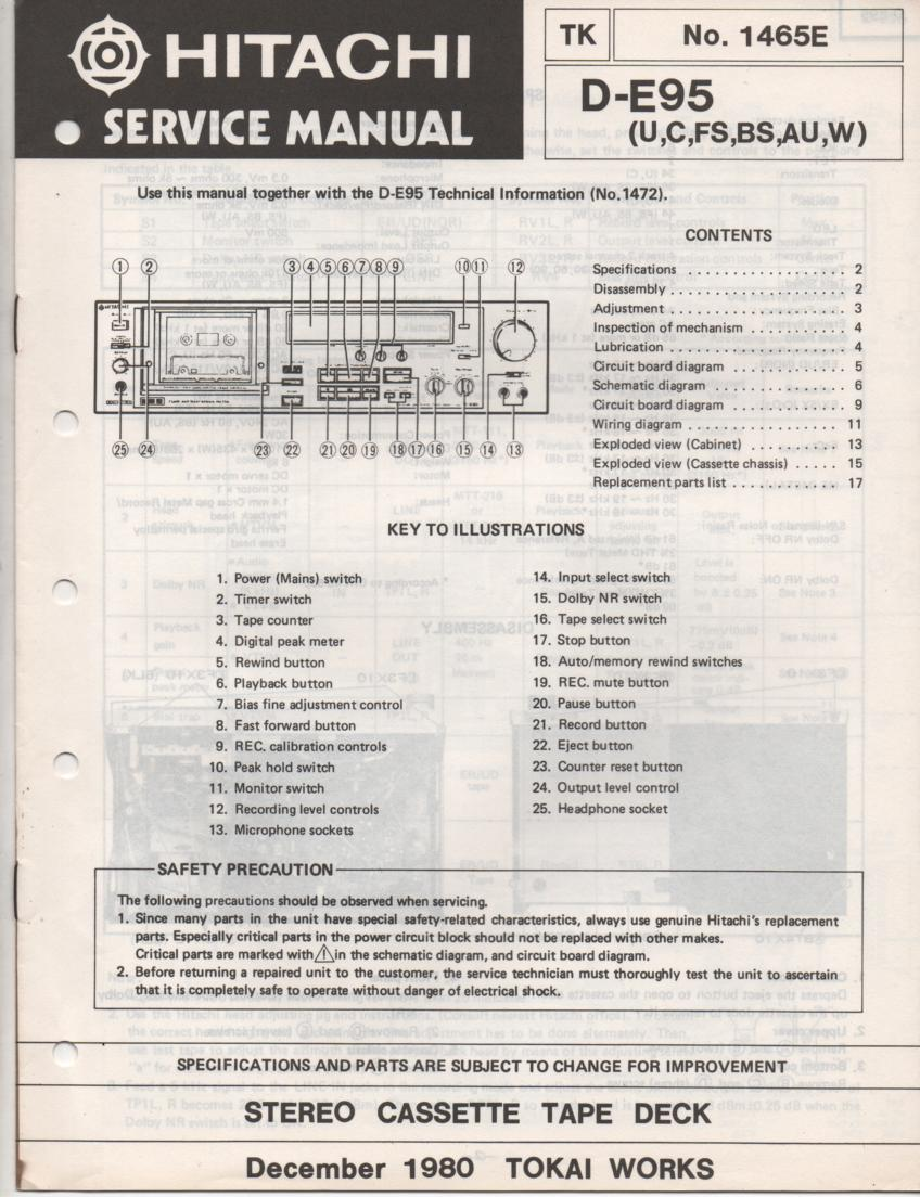 D-E95 Cassette Deck Service Manual .  For U C W FS BS and AU versions.  Manual is in English.. 2 Manual set..
