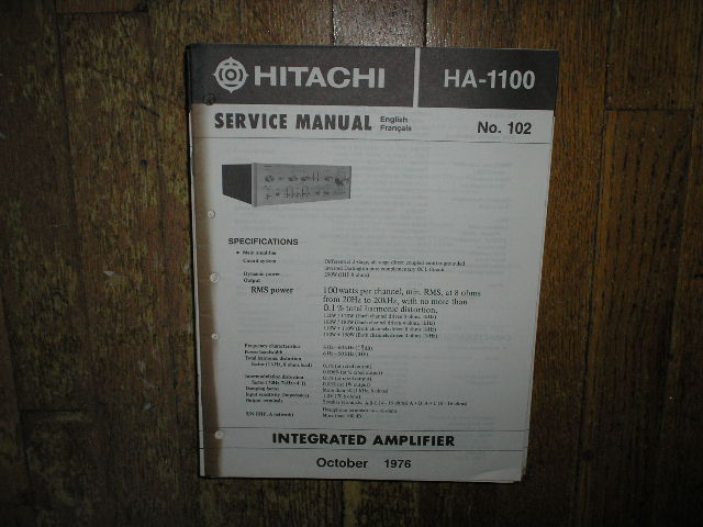 HA-1100 Amplifier Service Manual