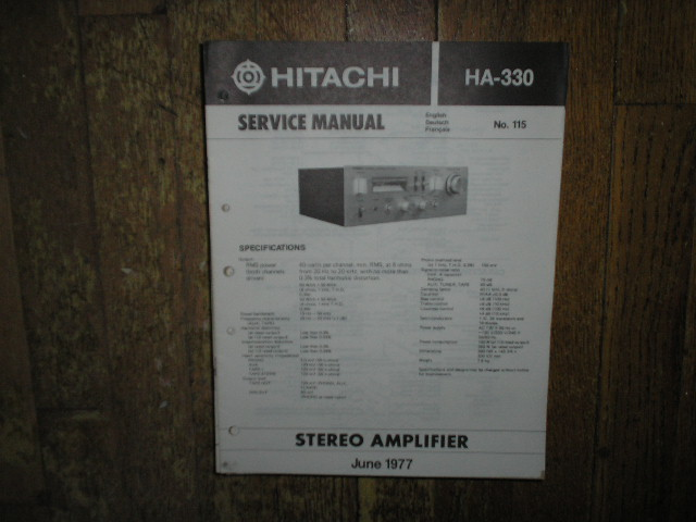 HA-330 Amplifier Service Manual