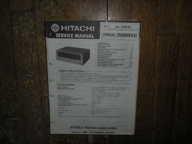 HMA-7500 MK II mkII Amplifier Service Manual