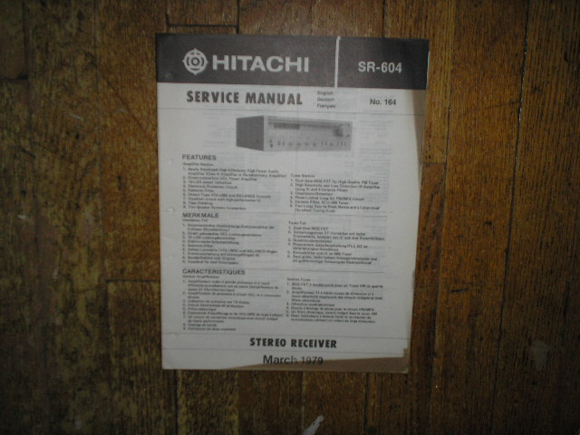 Hitachi SR-604 Receiver Instruction Manual