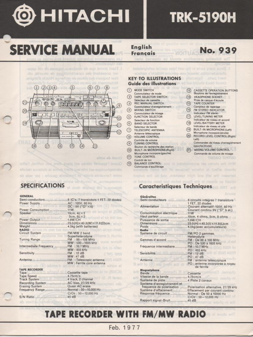 TRK-5190H Radio Service Manual