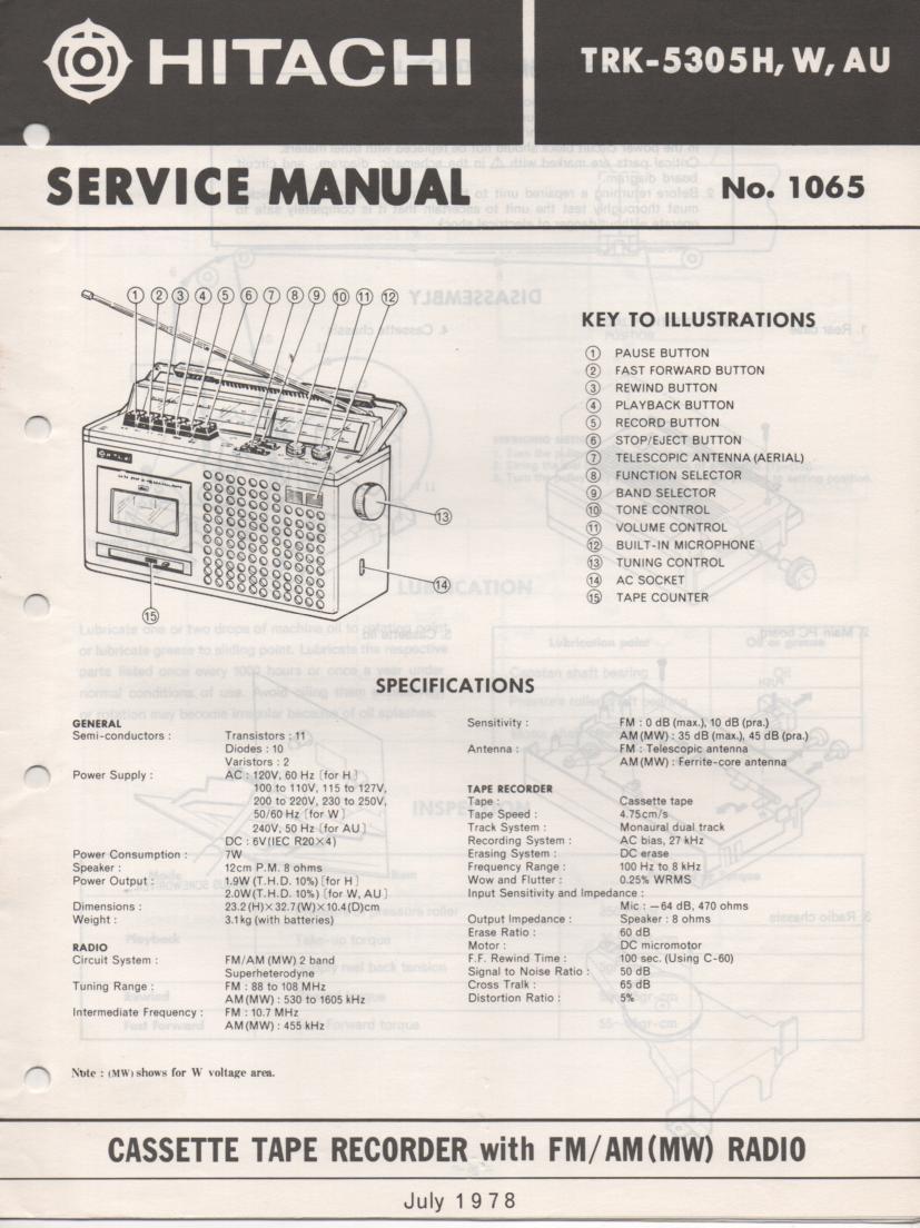 TRK-5305H TRK-5305W TRK-5305AU Radio Service Manual.
