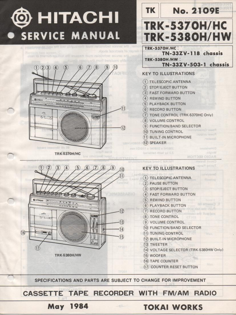 TRK-5370H TRK-5370HC TRK-5380H TRK-5380HW Radio Service Manual