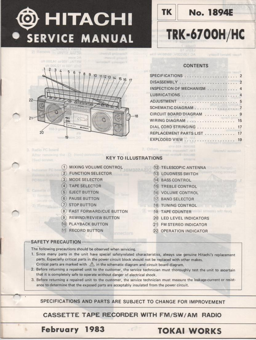 TRK-6700H TRK-6700HC TRK-6700RE Radio Service Manual