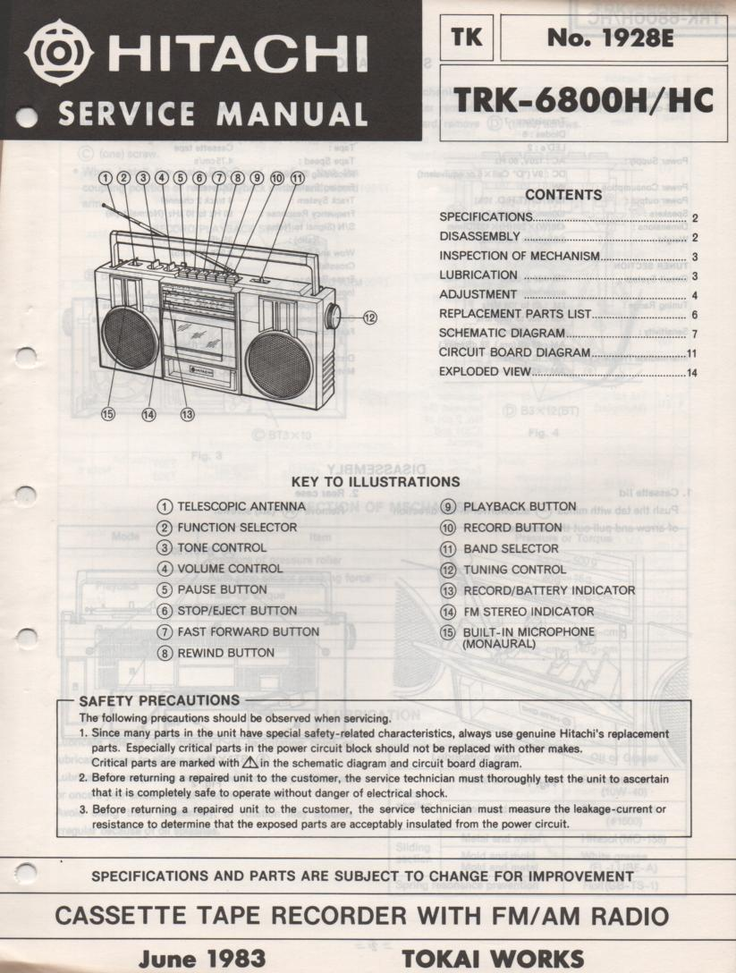 TRK-6800H TRK-6800HC Radio Service Manual