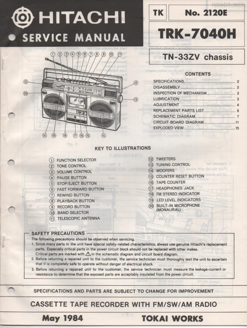 TRK-7040H Radio Service Manual
