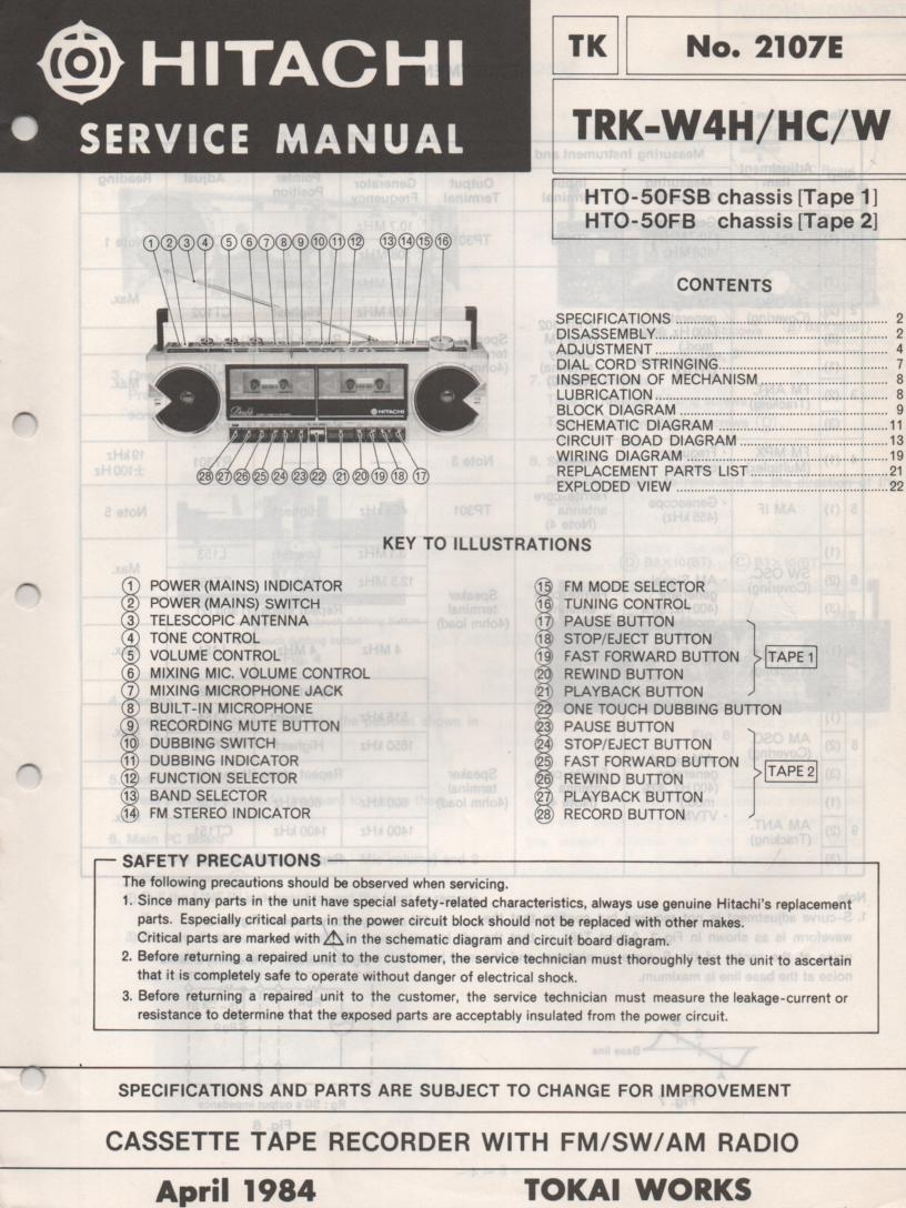 TRK-W4H TRK-W4HC TRK-W4W Radio Service Manual