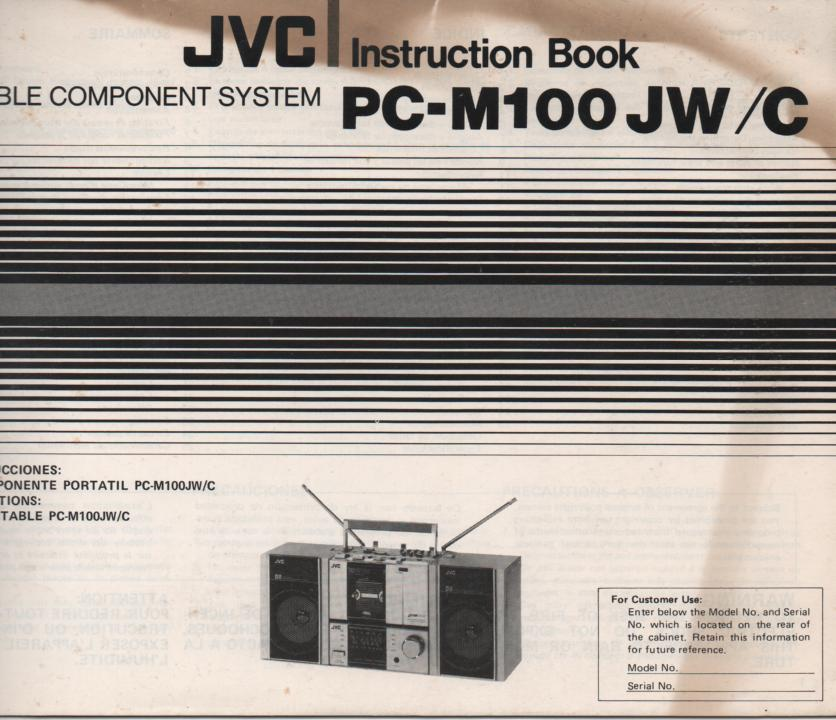 PC-M100 Stereo Radio Owners Instruction Manual