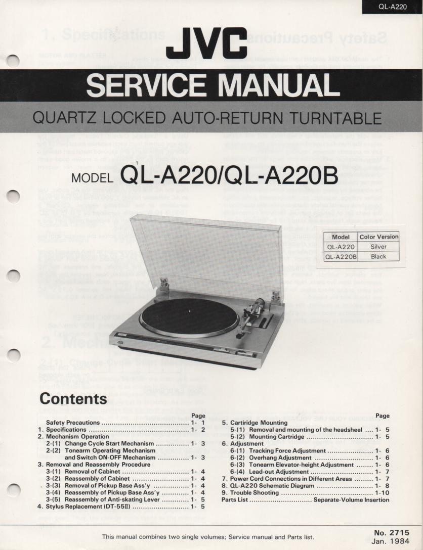 QL-A220 Turntable Service Manual