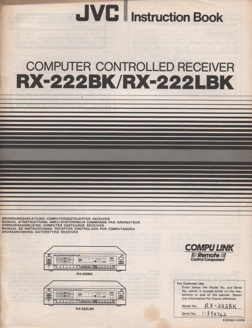 RX-222BK RX-222LBK Receiver Owners Instruction Manual