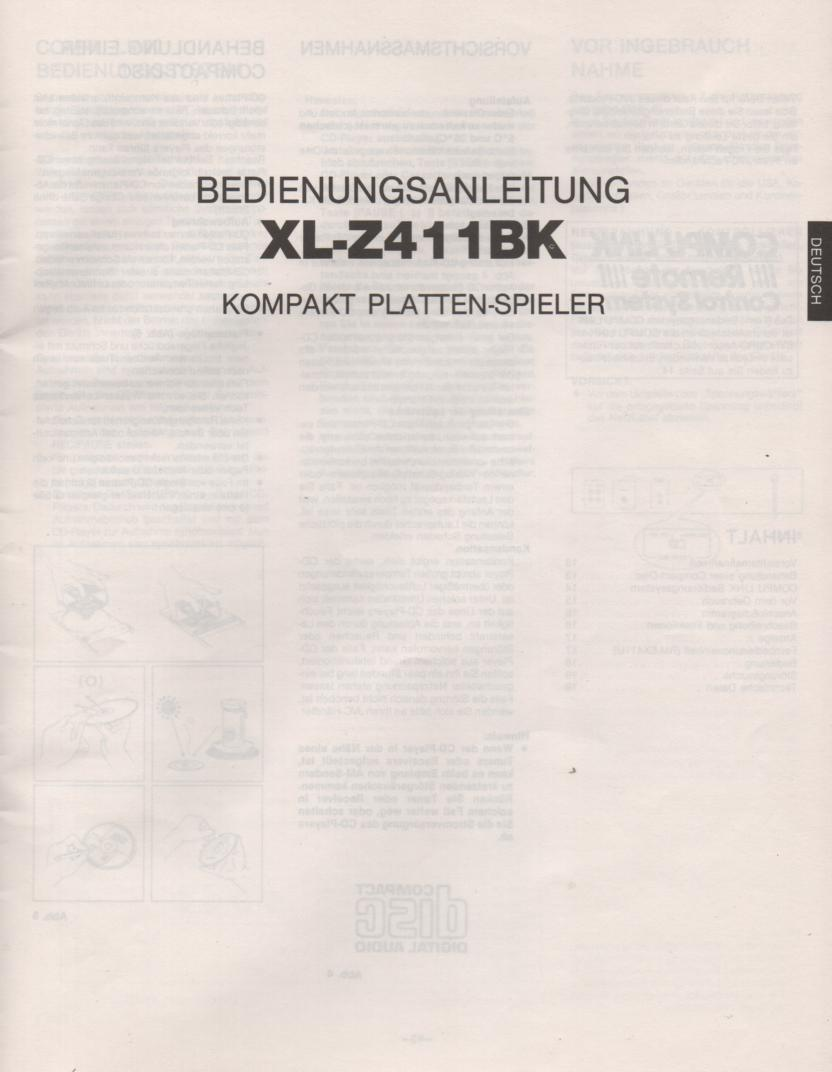 XL-Z411BK CD Player Owners Manual Deutsch