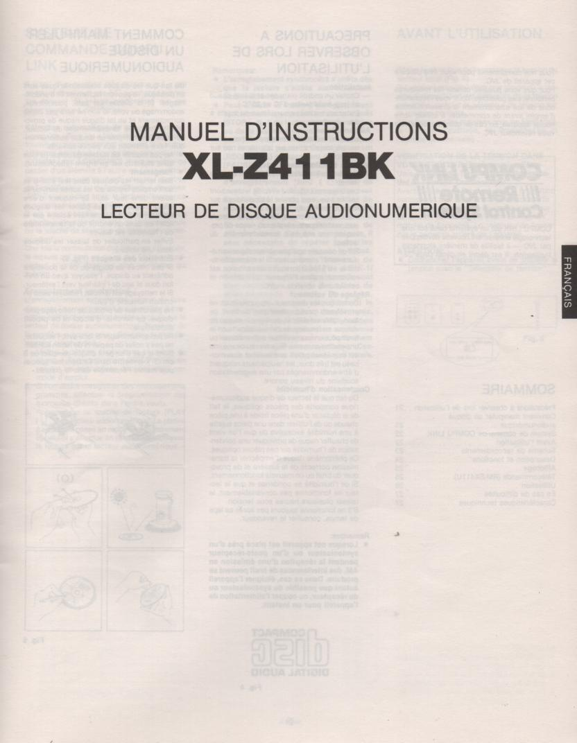 XL-Z411BK CD Player Owners Manual French