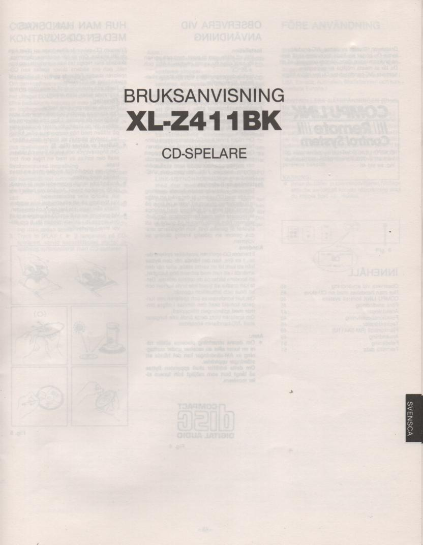 XL-Z411BK CD Player Owners Manual
