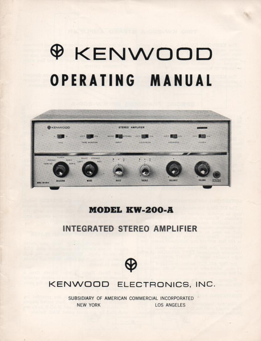 KW-200A Amplifier Owners Operating Instruction Service Manual.