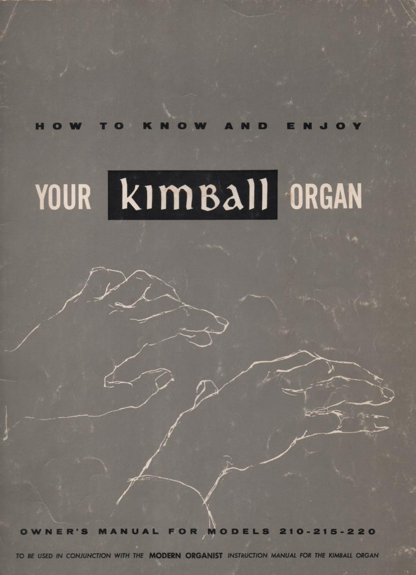 210 215 220 Organ Owners Operating Instruction Manual
