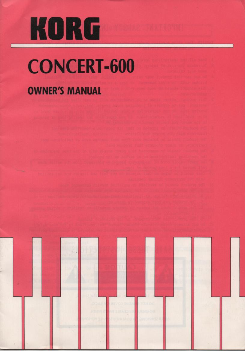 Concert 600 Keyboard Owners Manual