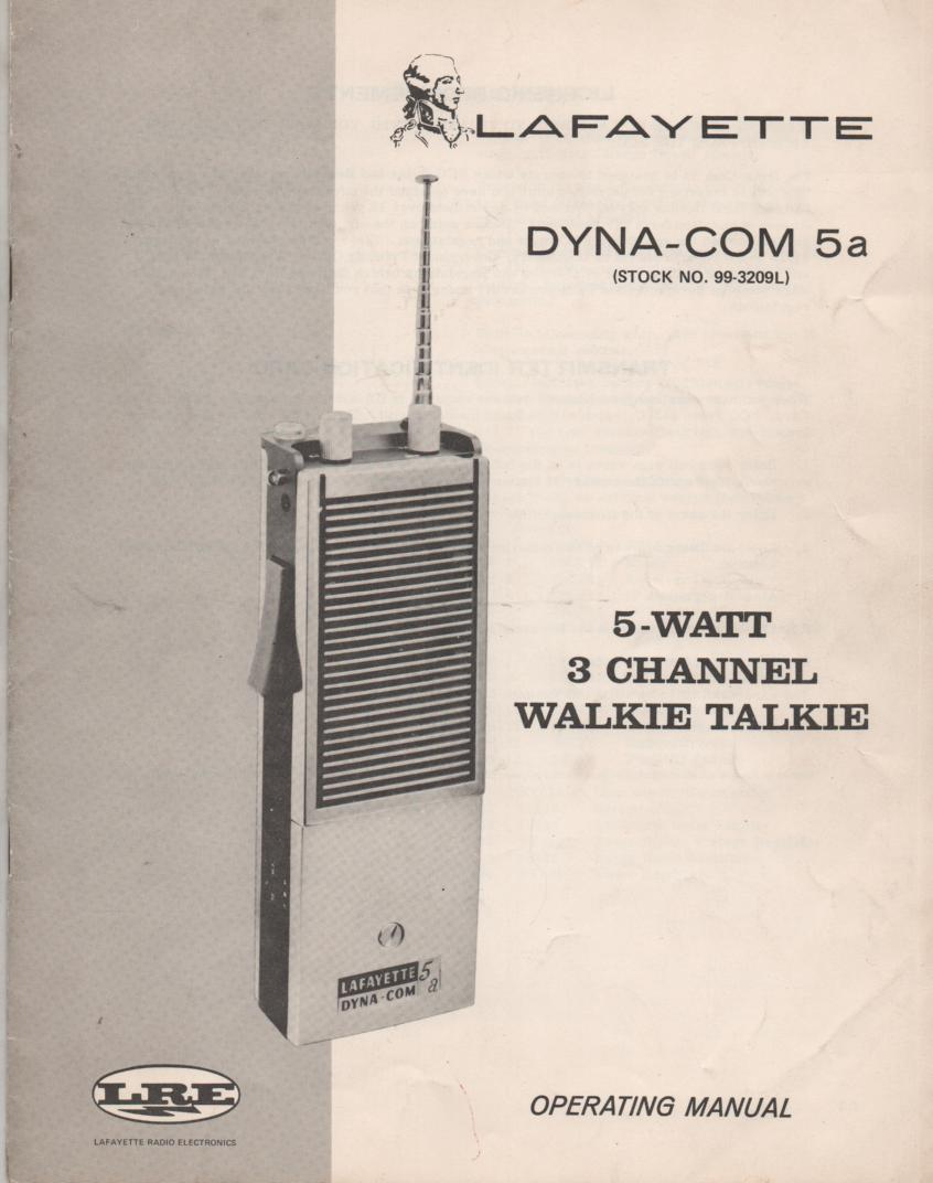 5A Dyna Com 5A Walkie Talkie Owners Service Instruction Manual