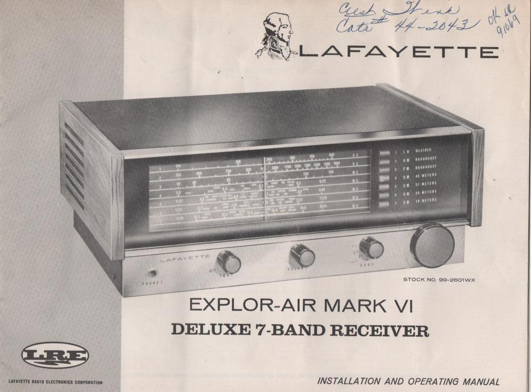 Explor-Air Mark VI Deluxe 7-Band Receiver Owners Service Manual. Owners manual with schematic. Stock No. 99-2601WX