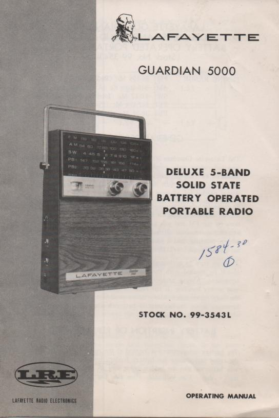 Guardian 5000 Deluxe 5 Band Radio.  Owners manual with schematic.   Stock No. 99-3543L
