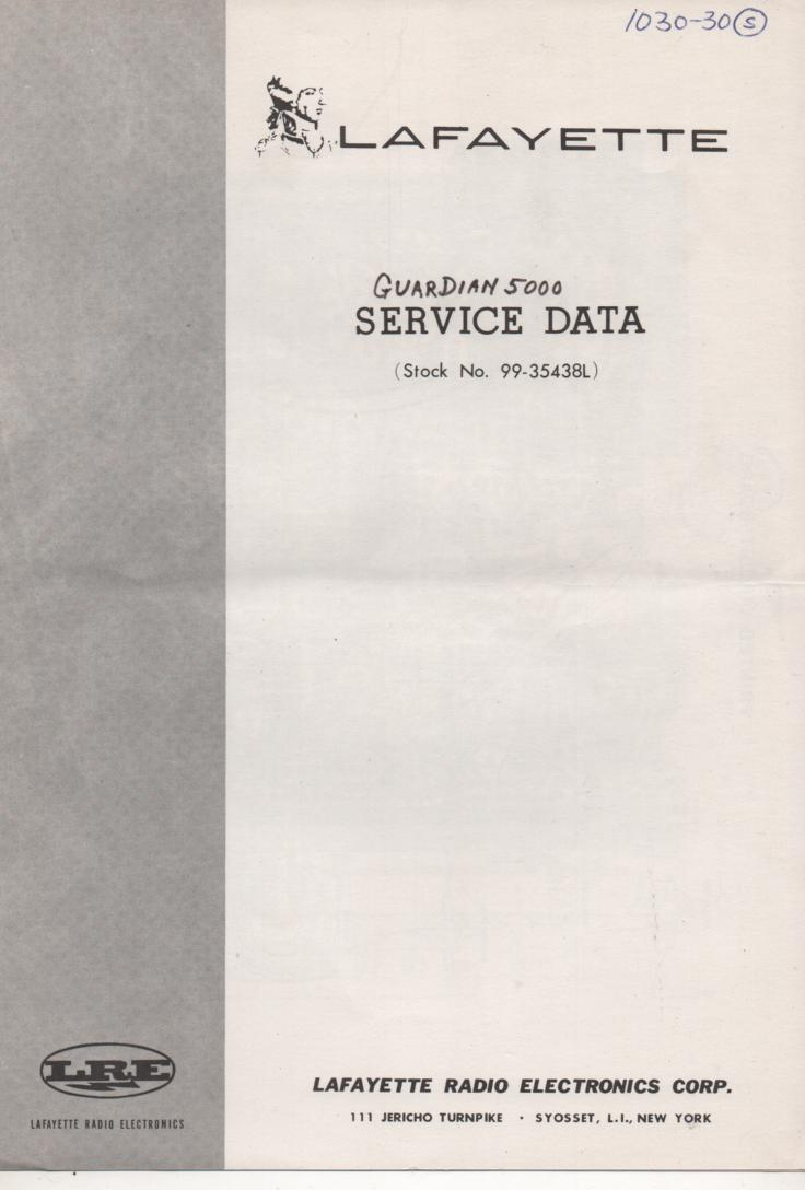 Guardian 5000 Service Manual with schematic. Stock No. 99-35438L