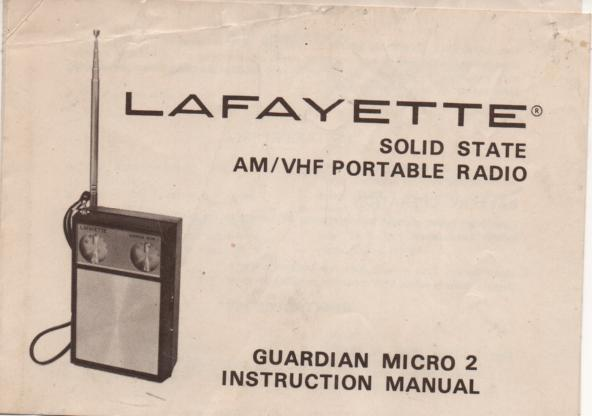 Guardian Micro 2 Radio Owners Instruction Manual with schematic