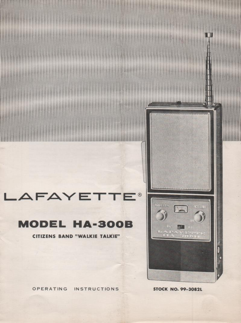 HA-300B Walkie Talkie Radio Owners Service Manual..   Owners manual with schematic