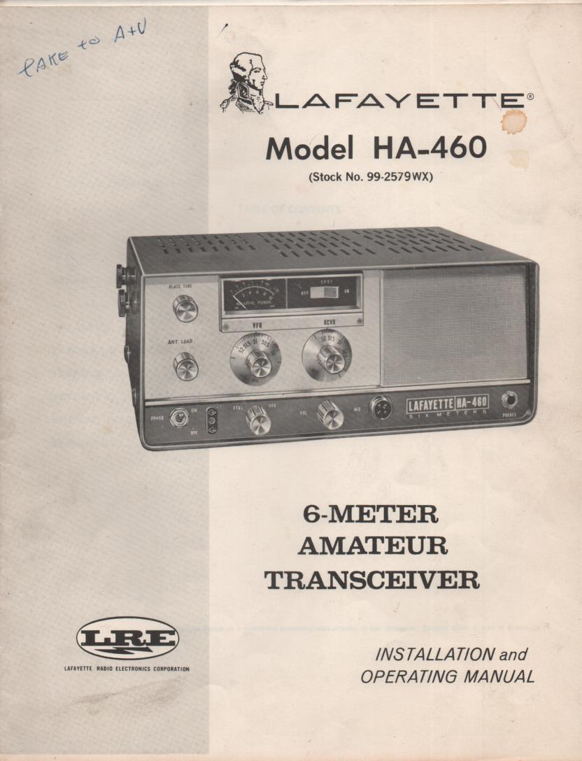 HA-460 Radio Owners Service Manual. Owners manual with schematic... Stock No. 99-2579WX .