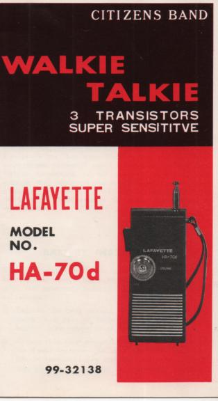 HA-70d Transistor Radio Owners manual with schematic.   Stock No. 99-32138..