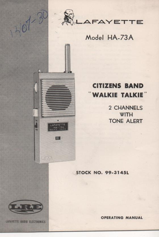 HA-73A CB walkie talkie radio Owners Service Manual with schematic.   Stock No. 99-3145L