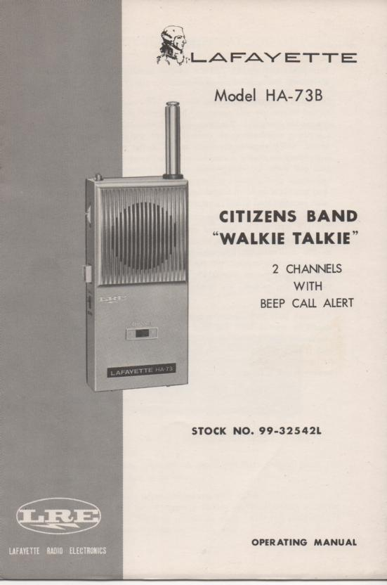 HA-73B Walkie Talkie Owners Manual