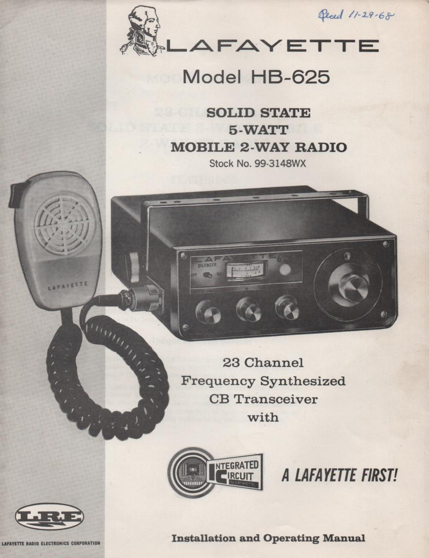 HB-625 Mobile CB Radio Owners Service Manual. Owners manual with Large Foldout schematic.   Stock No. 99-3148WX .