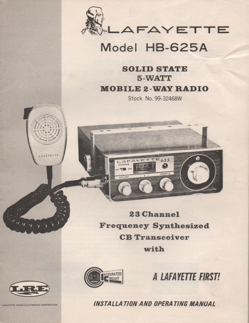 HB-625A Mobile CB Radio Owners Service Manual.  Owners manual with schematic and service bulletins.  Stock No. 99-32468WX .