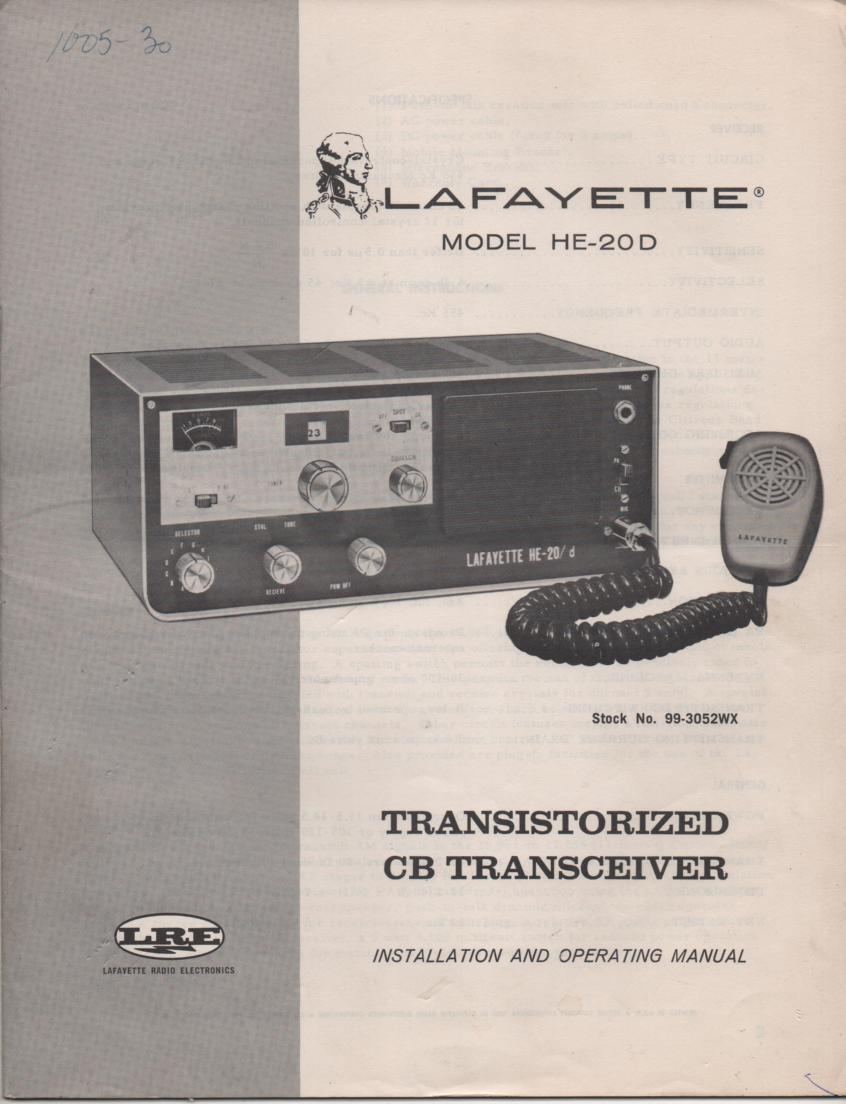 HE-20D CB Radio Owners Service Manual. Owners manual with  schematic. Stock No. 99-3052WX .