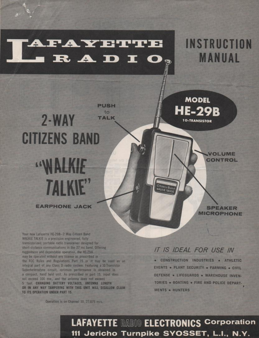 HE-29B Walkie Talkie Radio Owners Service Manual.. Owners manual with schematic.