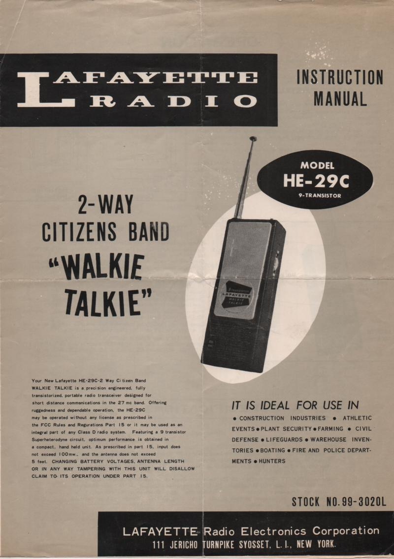 HE-29C Walkie Talkie RAdio Ownrts Service Manual.  Owners manual with schematic and parts list..  Stock No. 99-3020L .