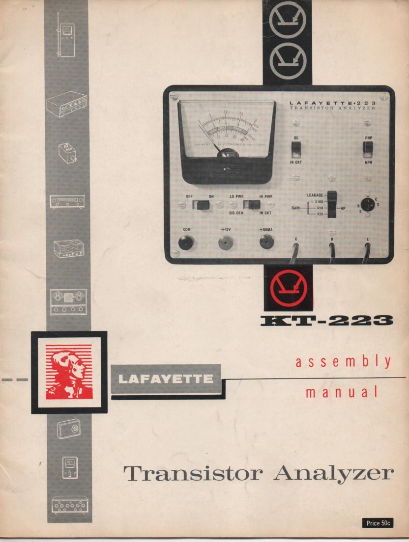 KT-223 Transistor Analyzer Assembly Service Manual