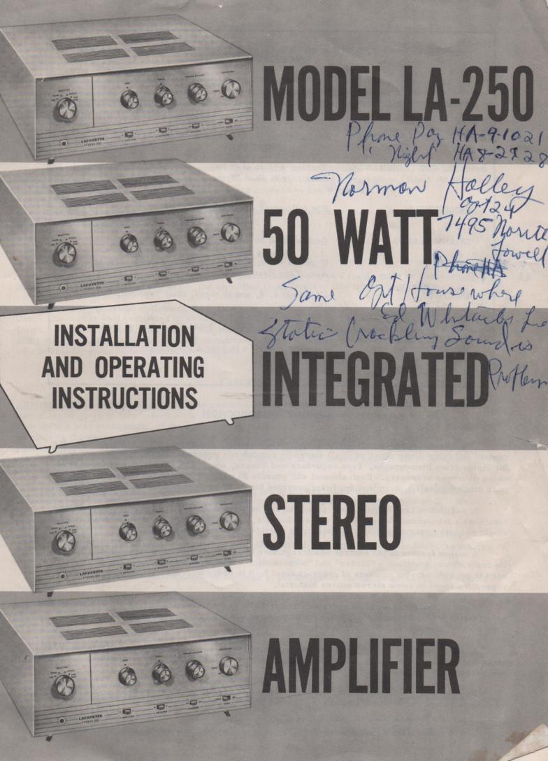 LA-250 50 Watt Amplifier Owners Manual with Schematic