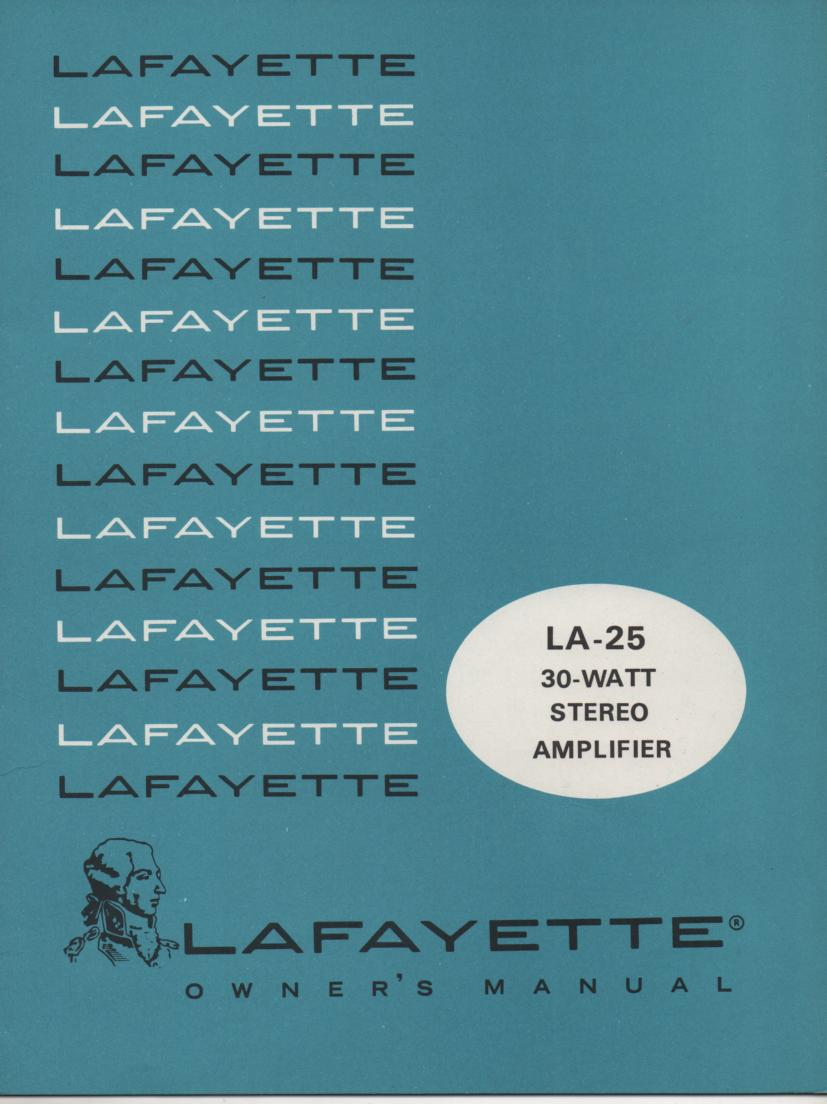 LA-25 Amplifier Owners Service Manual.. This is an owners manual with a schematic