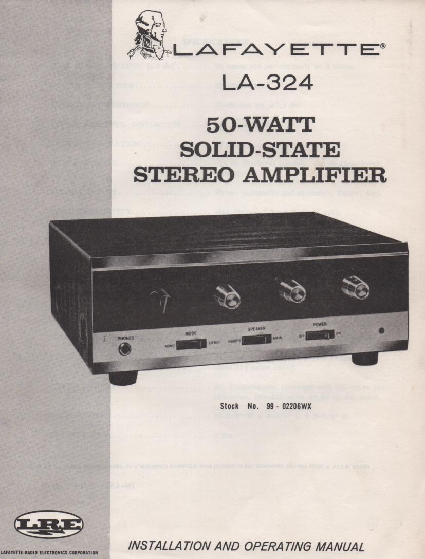 LA-324 50 Watt Stereo Amplifier Owners Service Manual with schematic